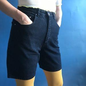 Vintage 90s black denim high waisted jean shorts